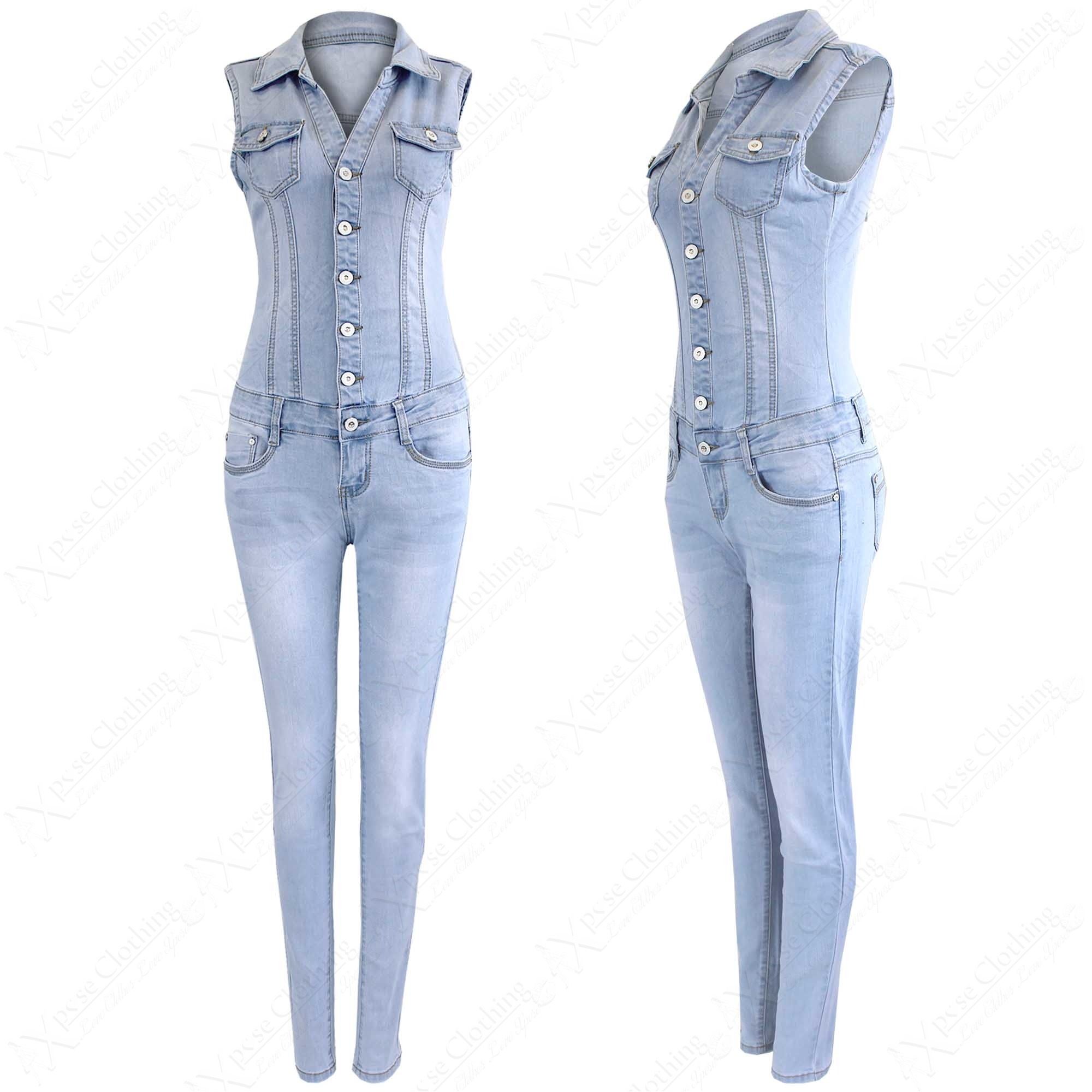 sleeveless denim jumpsuit breeze clothing