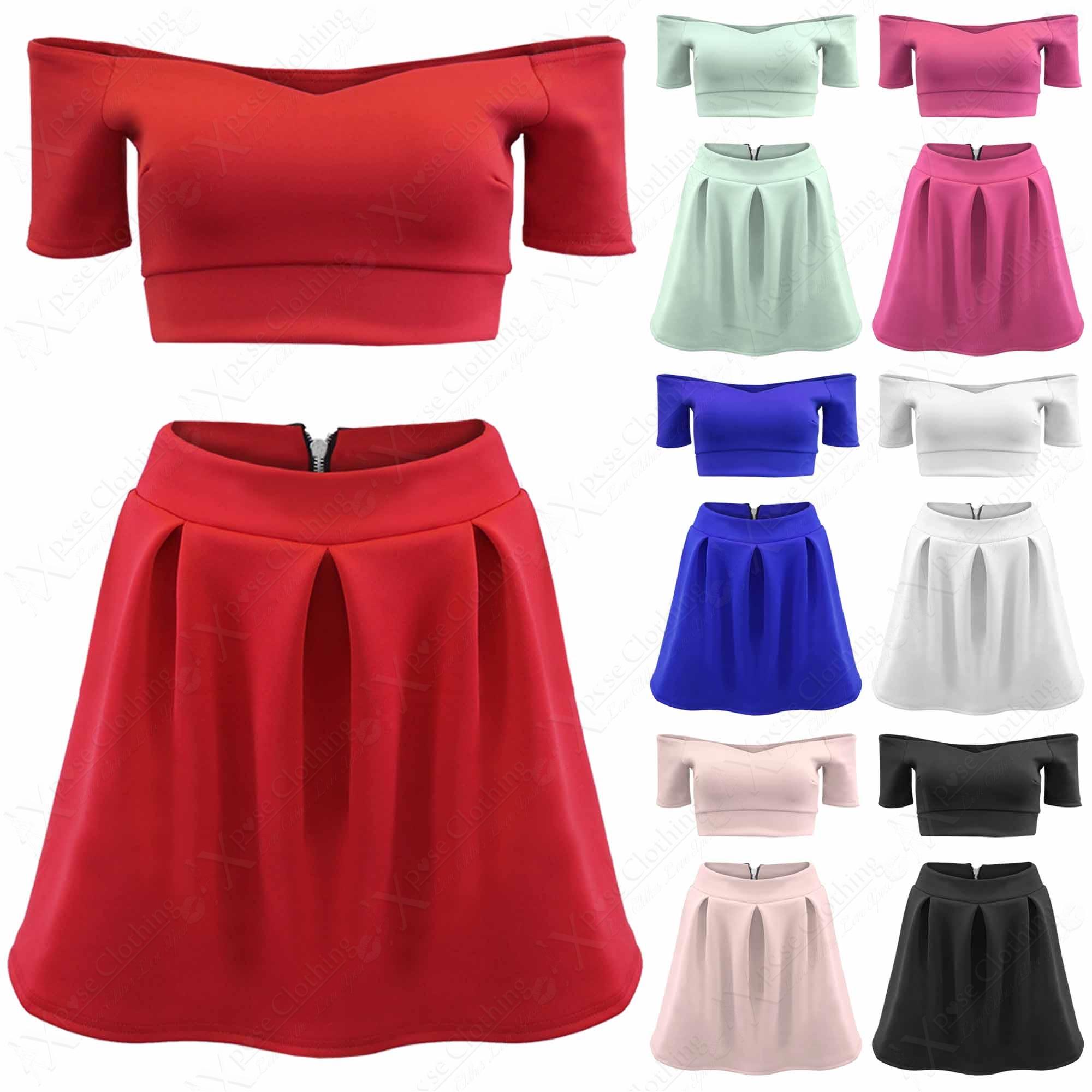 Original Women39s Girls Crop Tops  Skirt Vest High Waist Mini Dress Cartoon