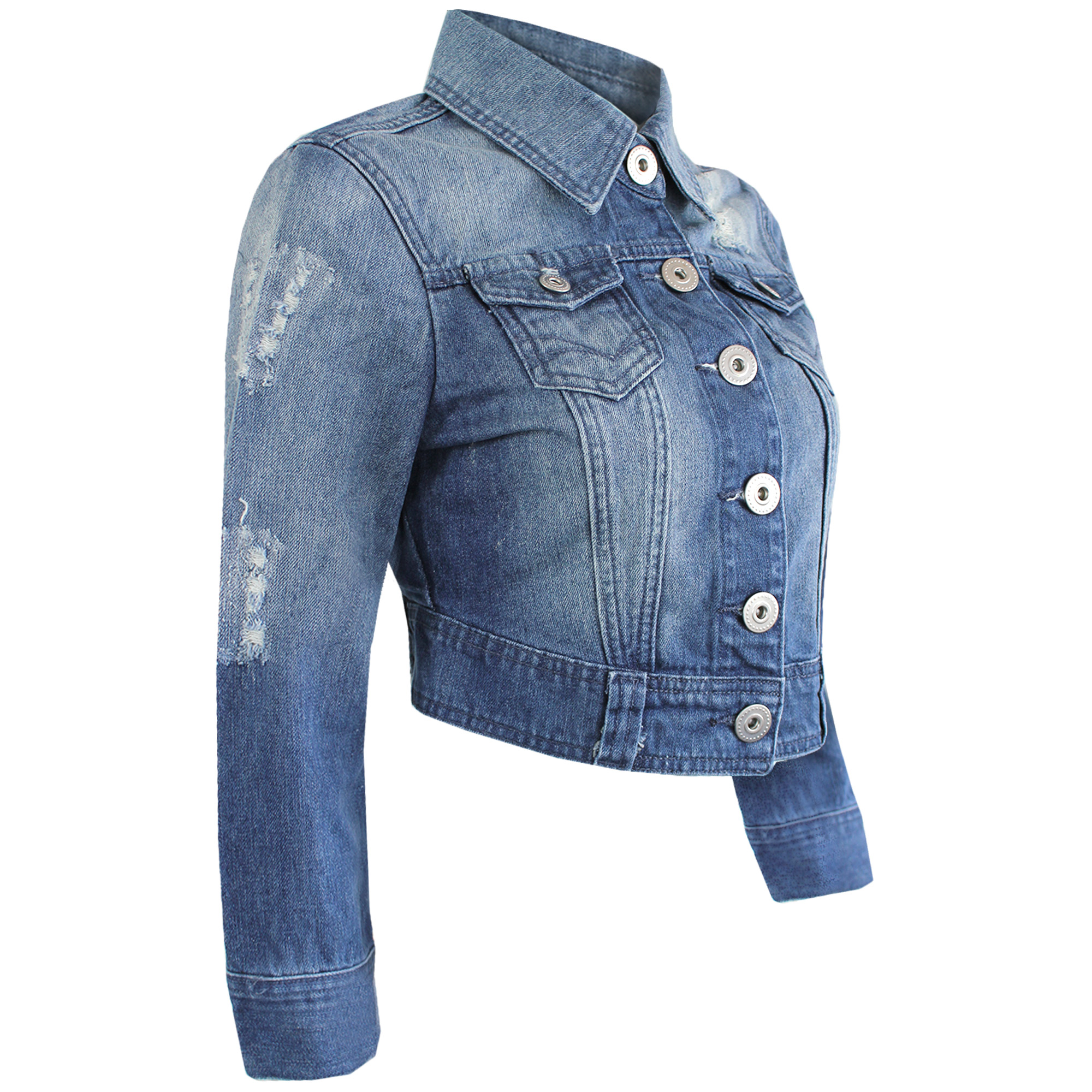 LADIES CROPPED DENIM BLUE WASH JACKET WOMENS FESTIVAL JEANS COAT