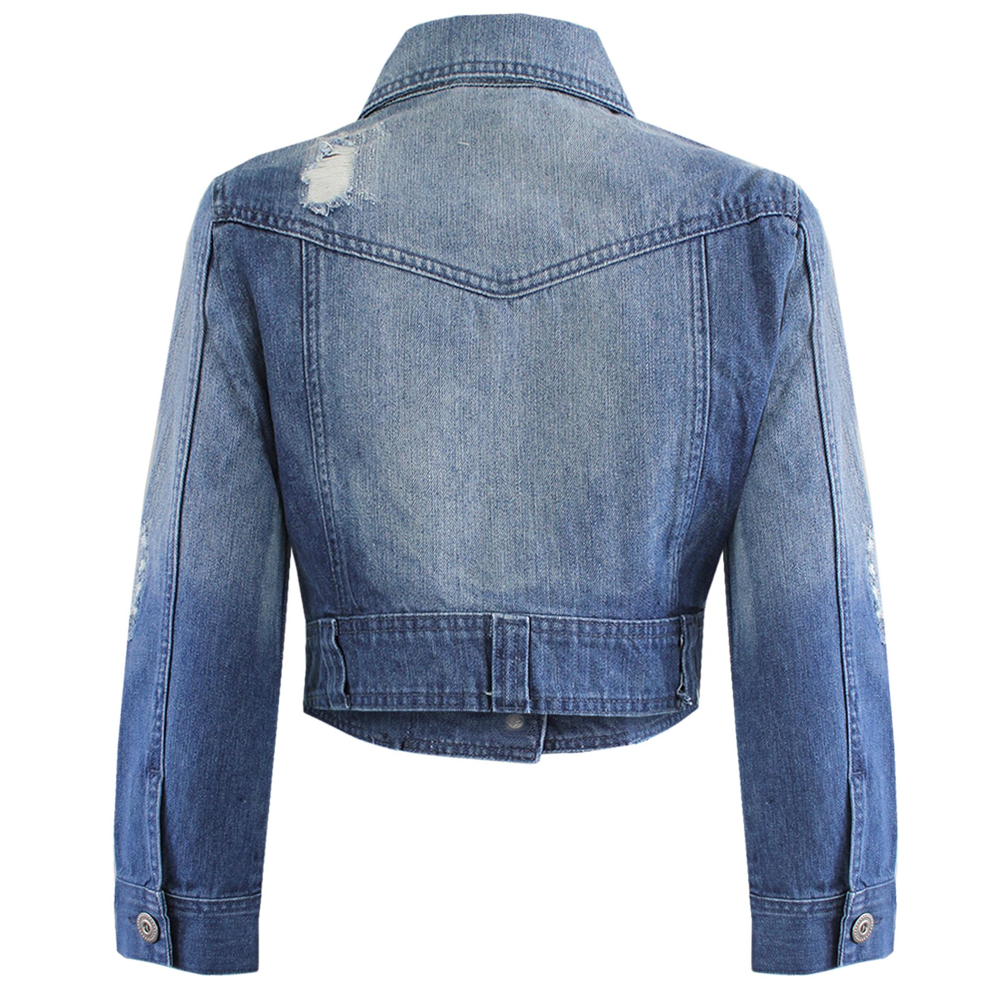 Crop denim jackets for women
