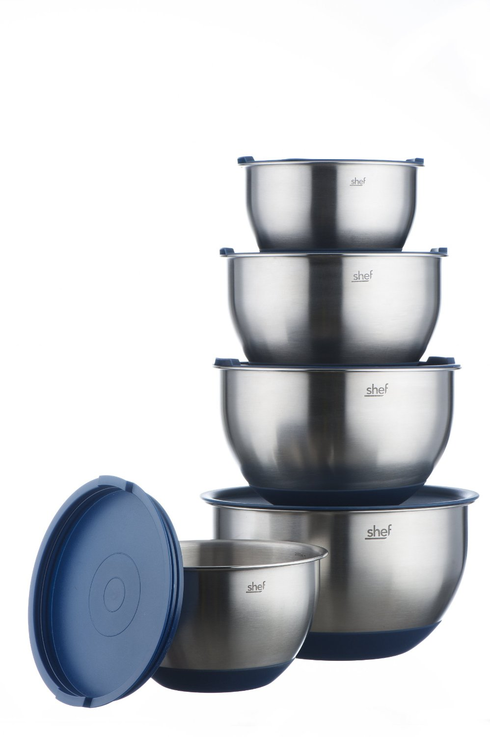 vonshef stainless steel mixing bowl set with lids 5 piece non slip baking bowls ebay. Black Bedroom Furniture Sets. Home Design Ideas