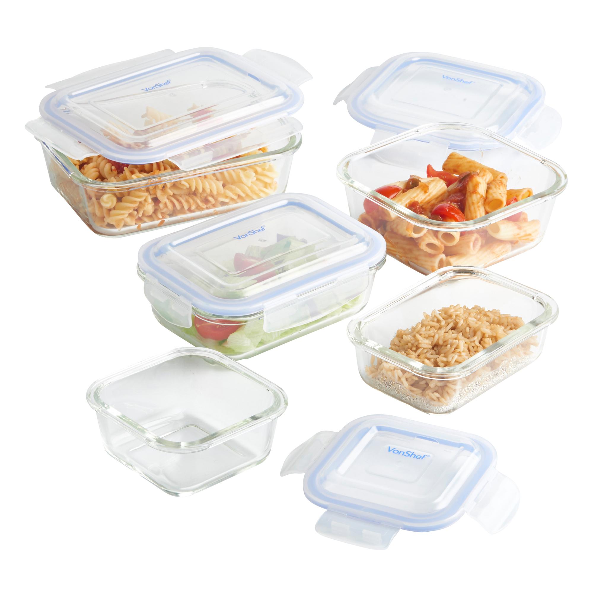 vonshef 5 piece glass container food storage set with lids. Black Bedroom Furniture Sets. Home Design Ideas