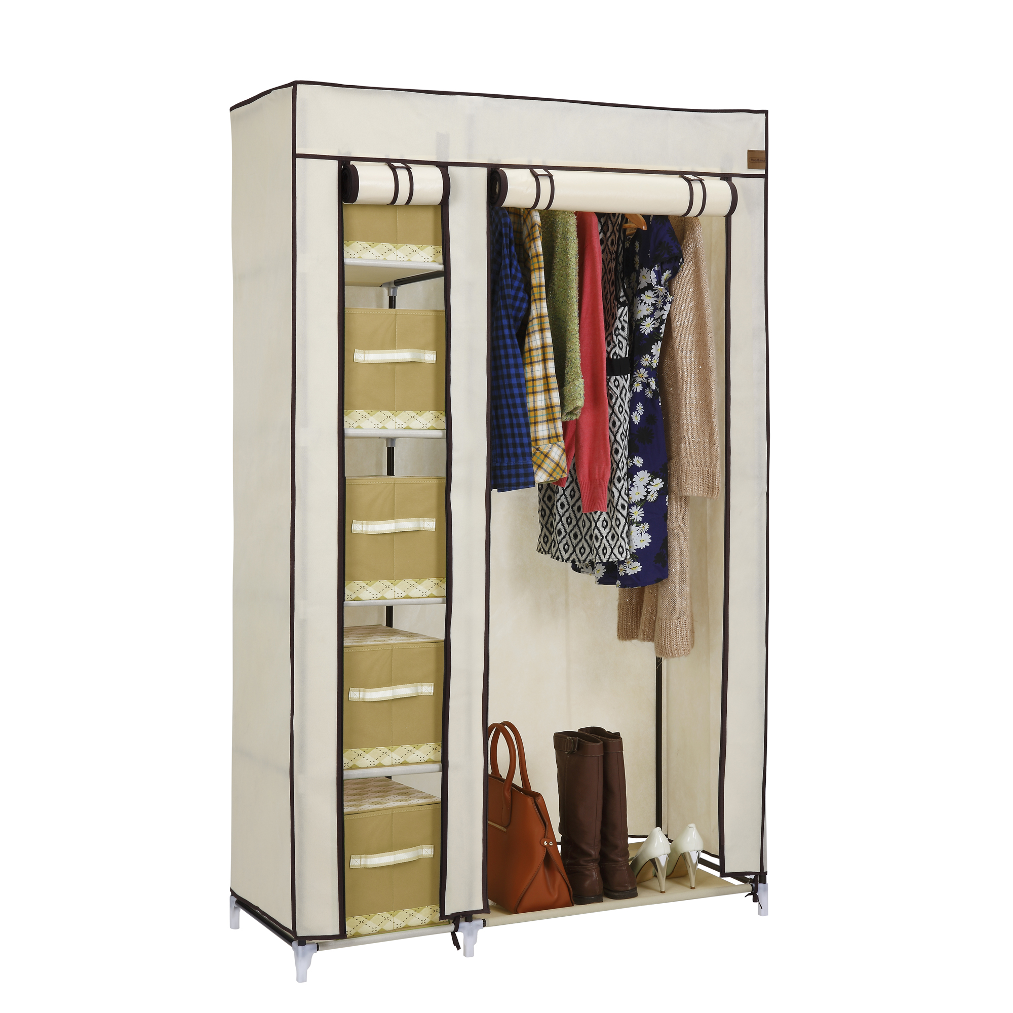 vonhaus double canvas effect wardrobe clothes hanging rail