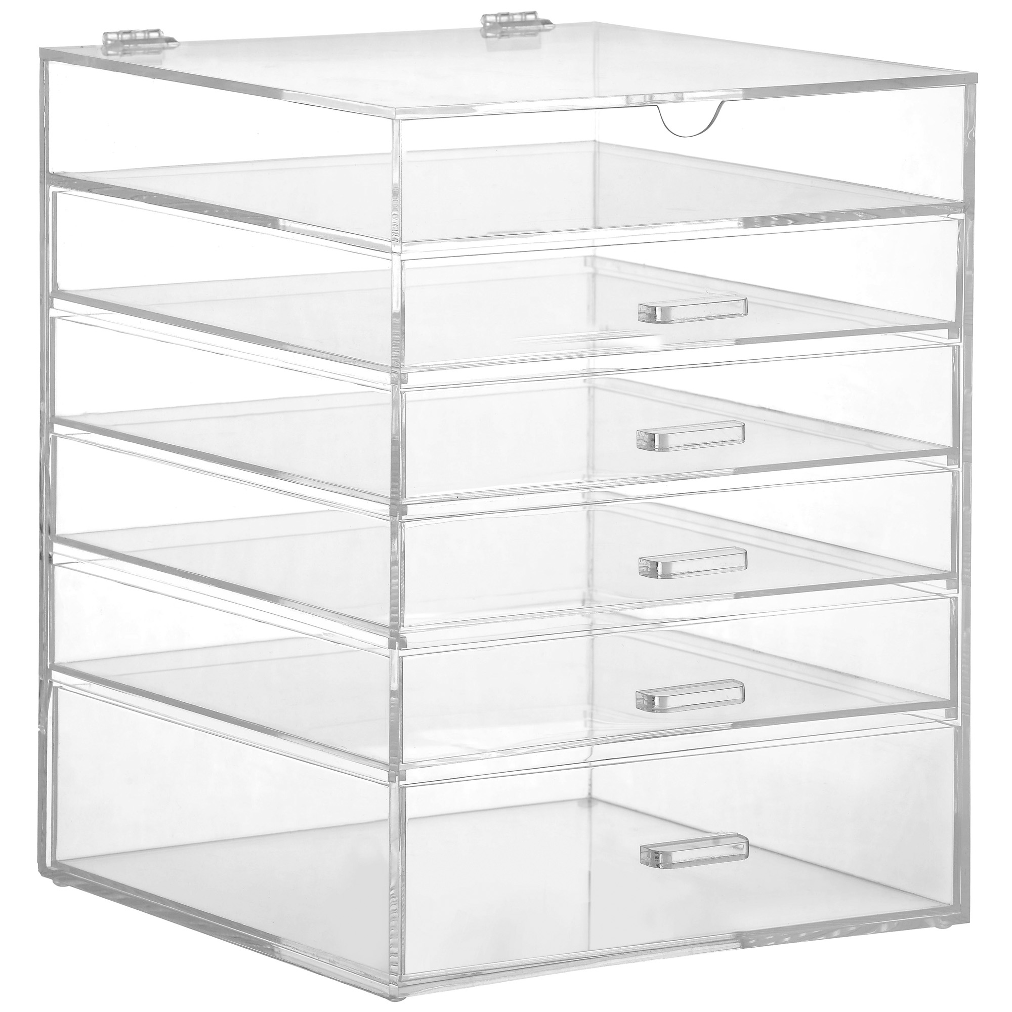 White Makeup Organizer Beautify Large 6 Tier Clear Acrylic Cosmetic Makeup Organiser Case