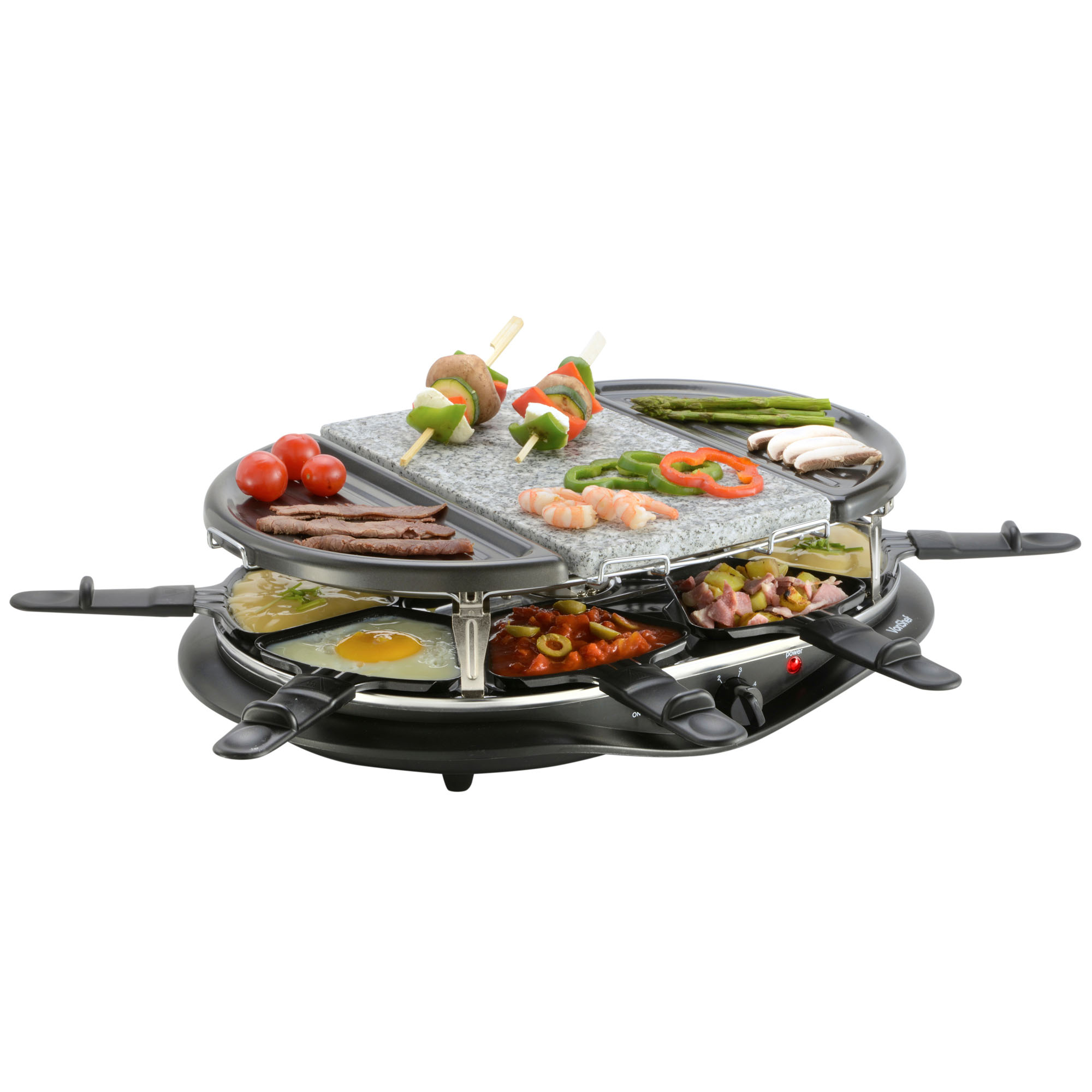 vonshef 8 person raclette grill indoor bbq with natural stone plate ebay. Black Bedroom Furniture Sets. Home Design Ideas