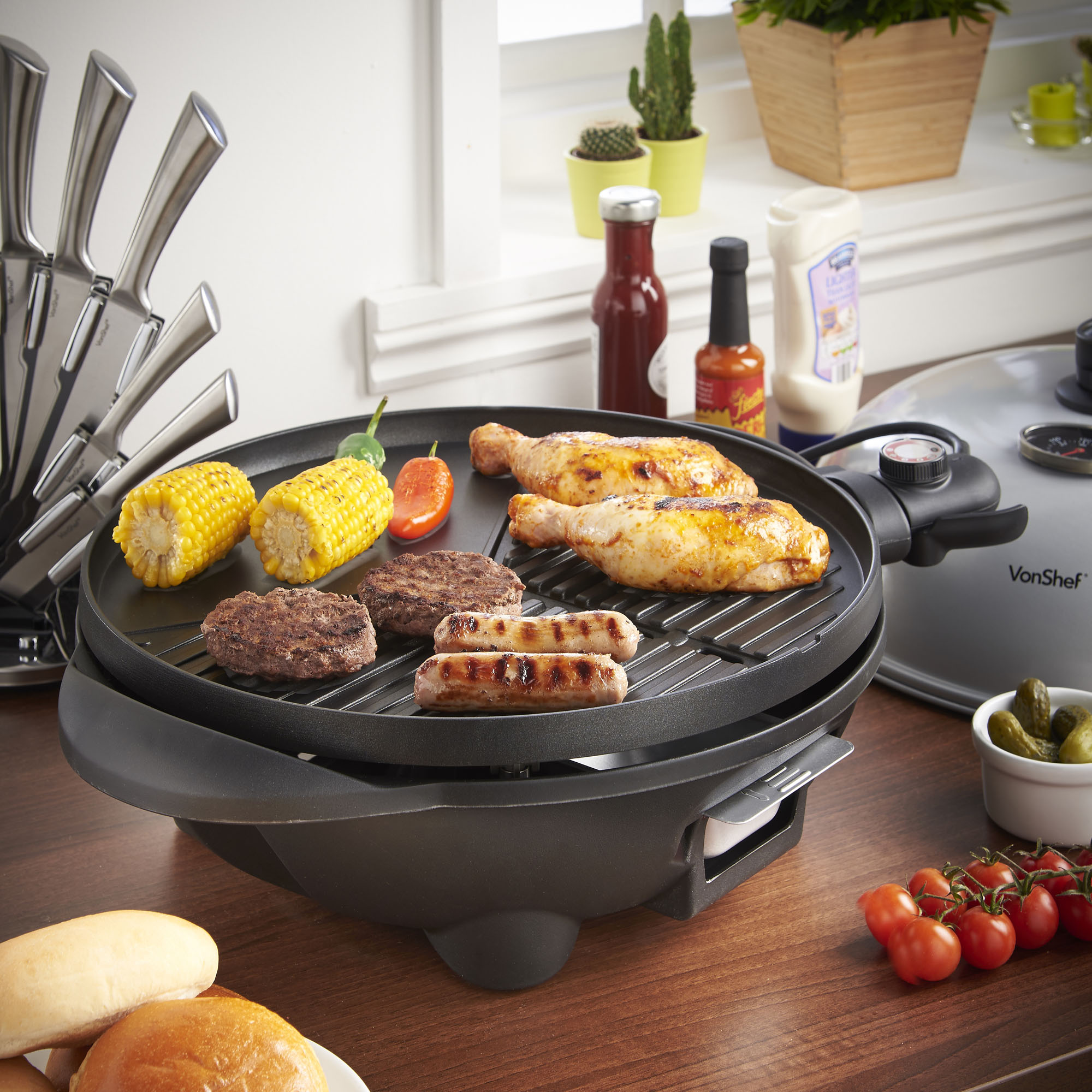 VonShef Electric BBQ Barbecue, Indoor Outdoor Grill
