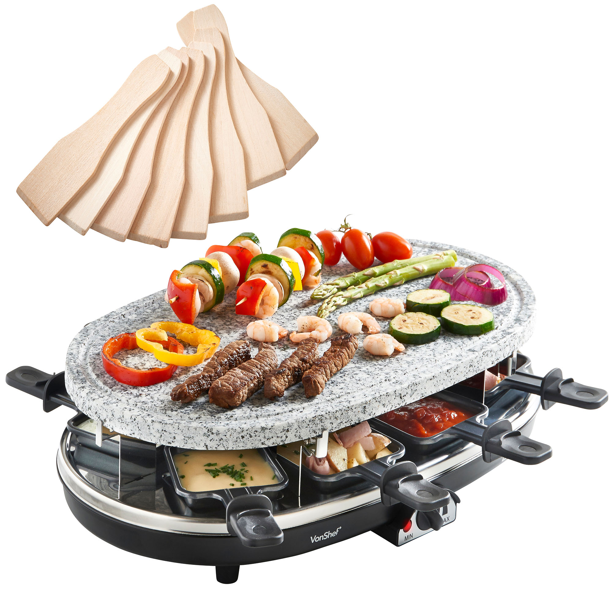 vonshef 8 person natural stone plate raclette grill table top bbq hotplate. Black Bedroom Furniture Sets. Home Design Ideas