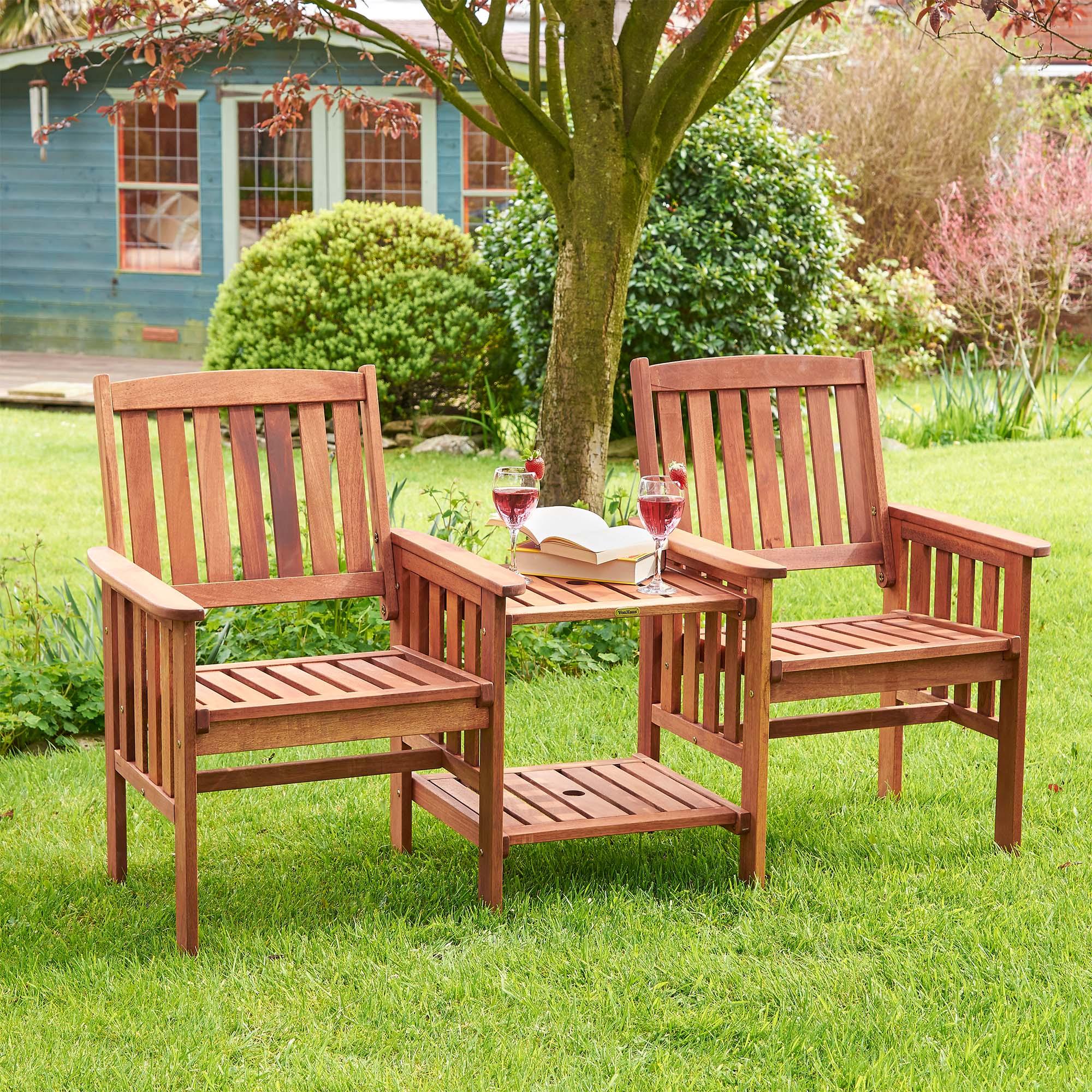 sentinel vonhaus jack jill love seat companion hardwood garden furniture bench set