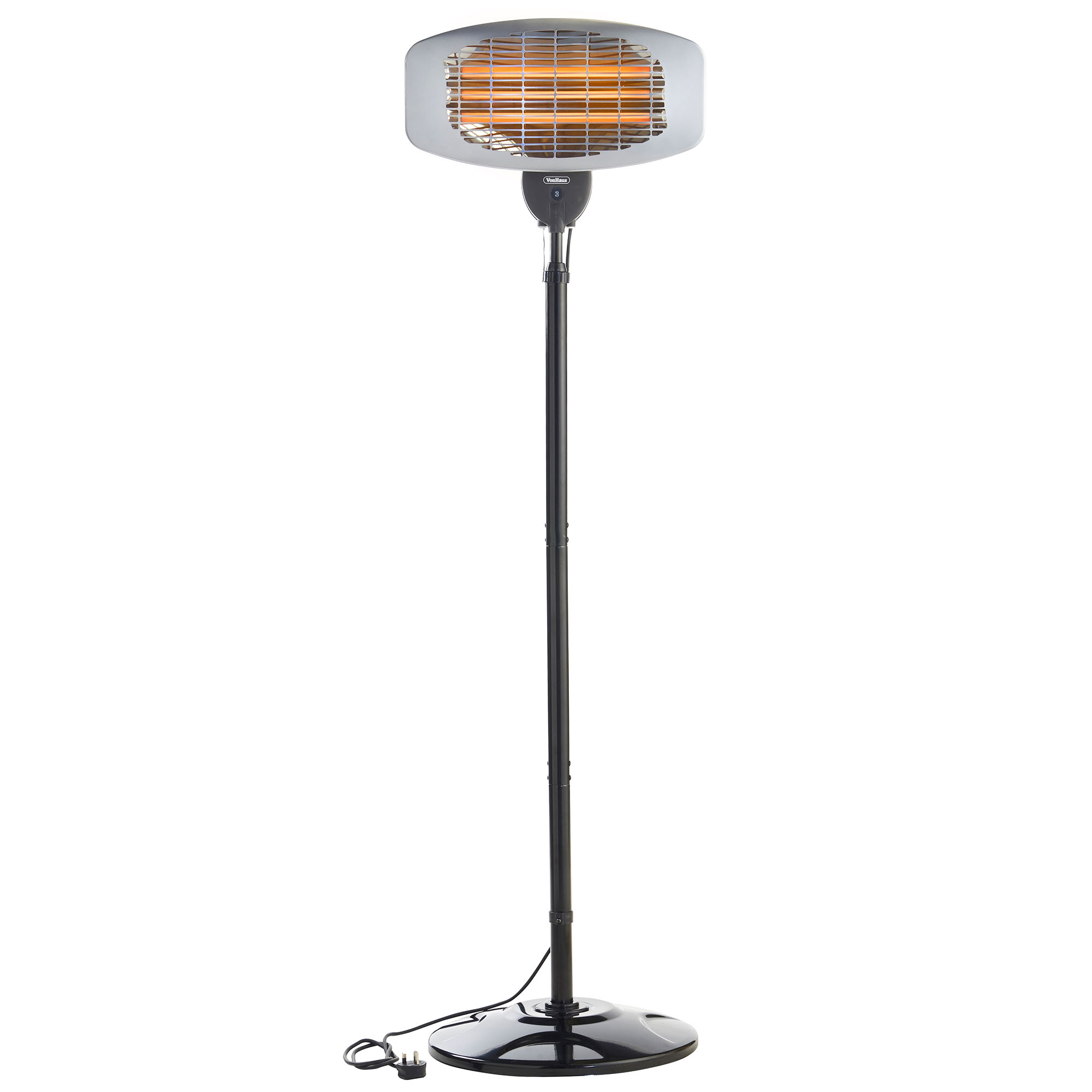 Vonhaus 2kw free standing electric infrared indoor for Outdoor patio heaters electric
