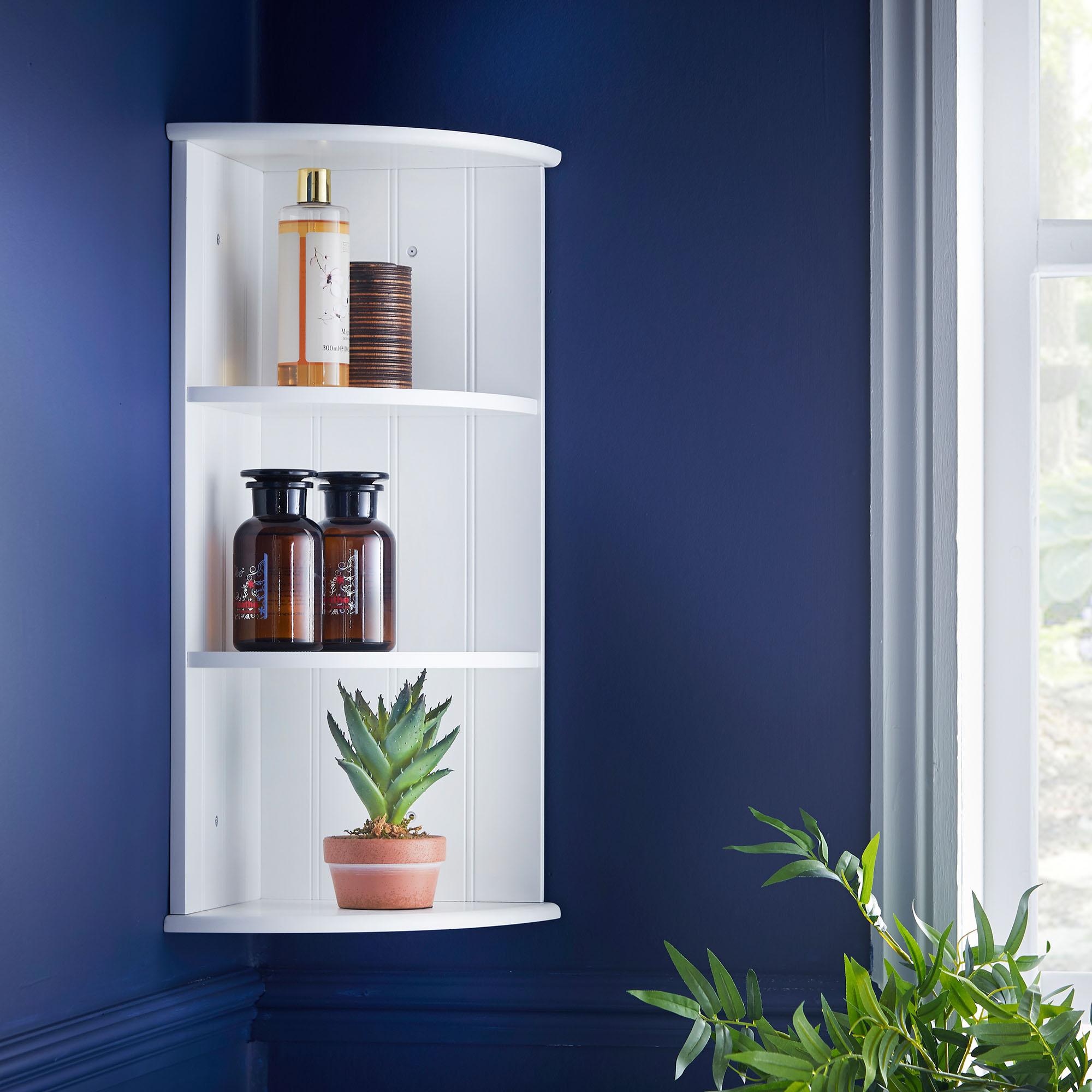 Vonhaus Colonial White Two Shelf Bathroom Corner Cabinet Unit For Wall Or Floor