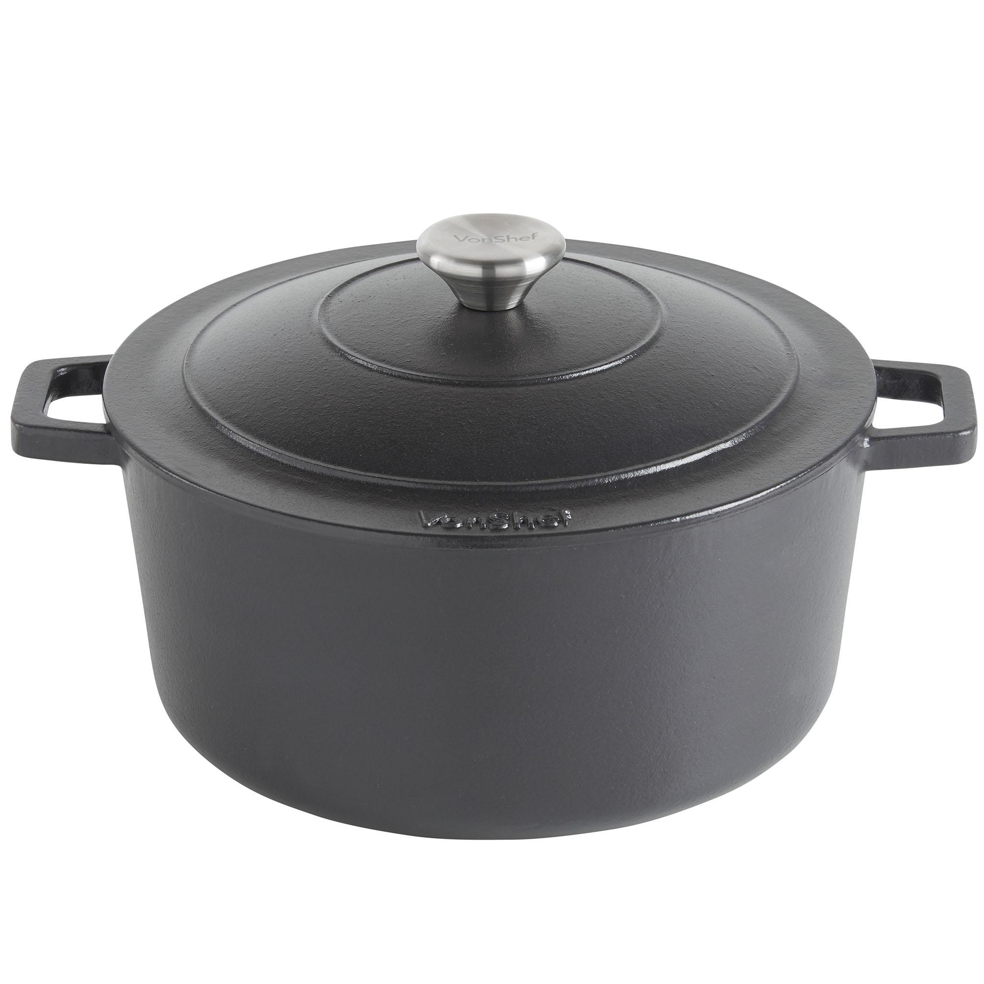 vonshef 4 5l black enamel cast iron oven casserole dish stewing cooking pot ebay. Black Bedroom Furniture Sets. Home Design Ideas