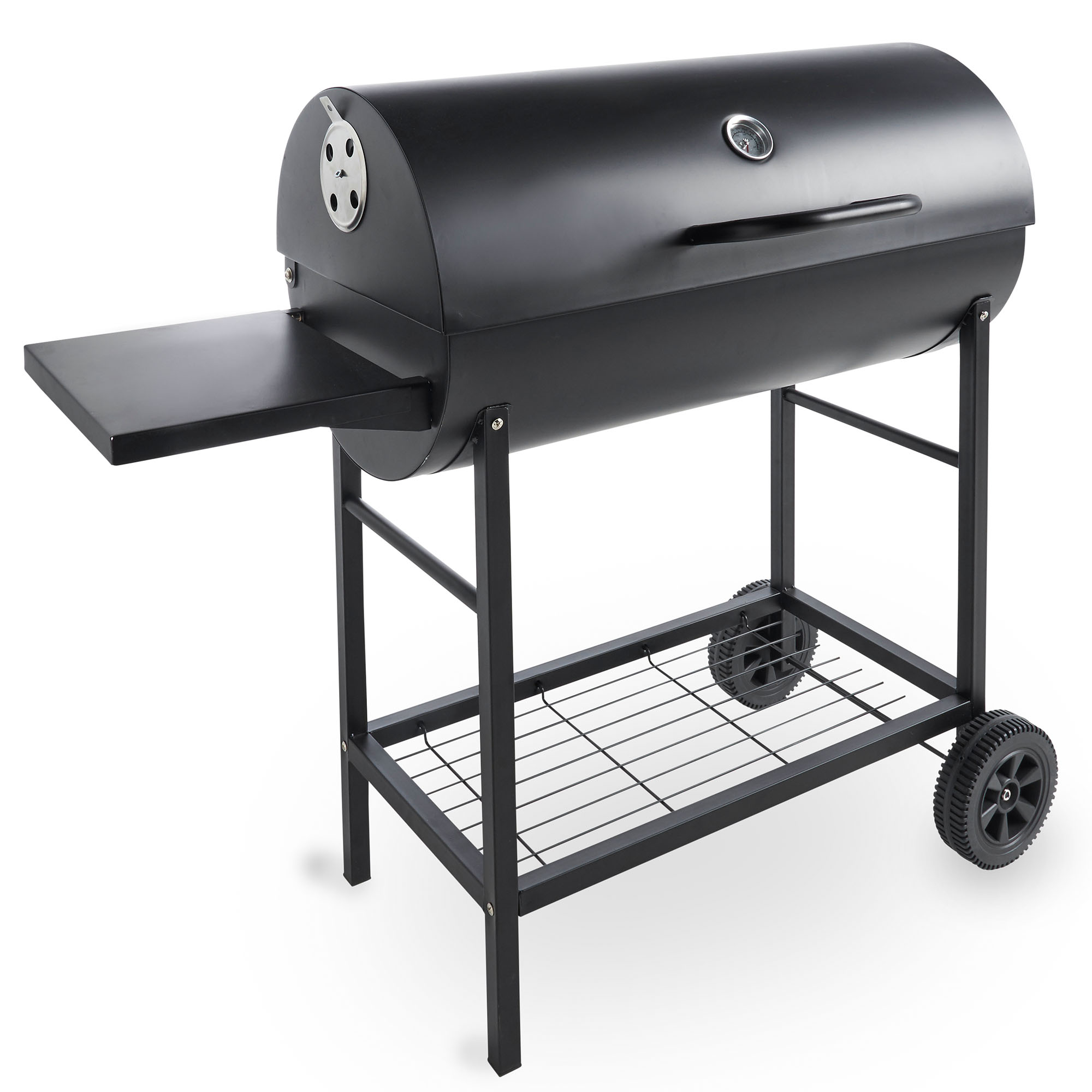 vonhaus 105cm charcoal barrel bbq with side table garden patio smoker grill ebay. Black Bedroom Furniture Sets. Home Design Ideas