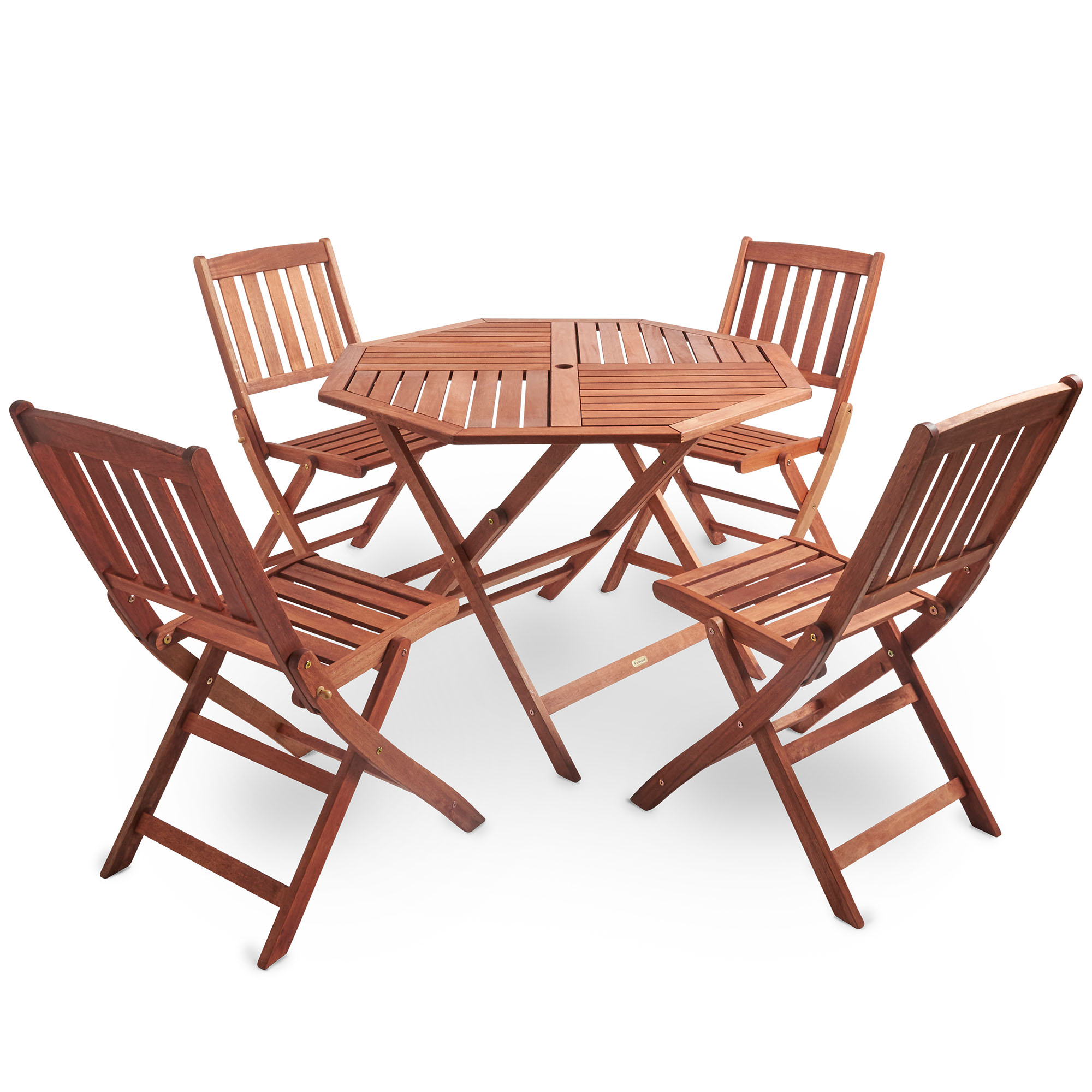 vonhaus outdoor garden dining set hardwood folding octagonal table 4 chairs ebay. Black Bedroom Furniture Sets. Home Design Ideas