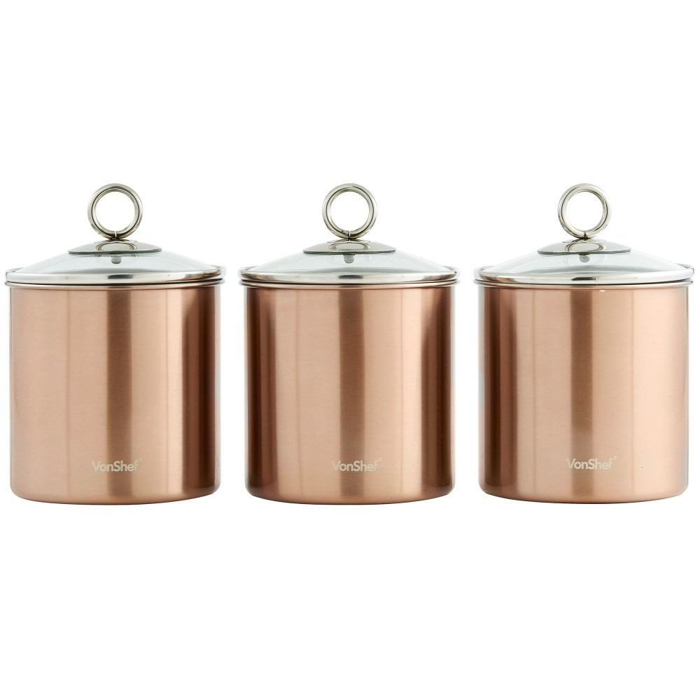 Kitchen Storage Canisters Vonshef Set Of 3 Copper Tea Coffee Sugar Canisters Kitchen Storage