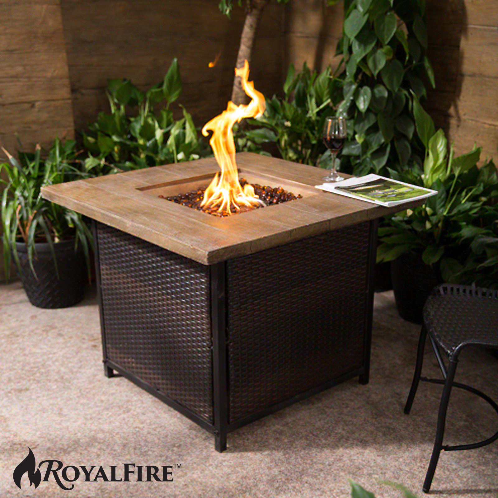 Outdoor Garden Firepit Royal Fire Square Fire Pit Gas