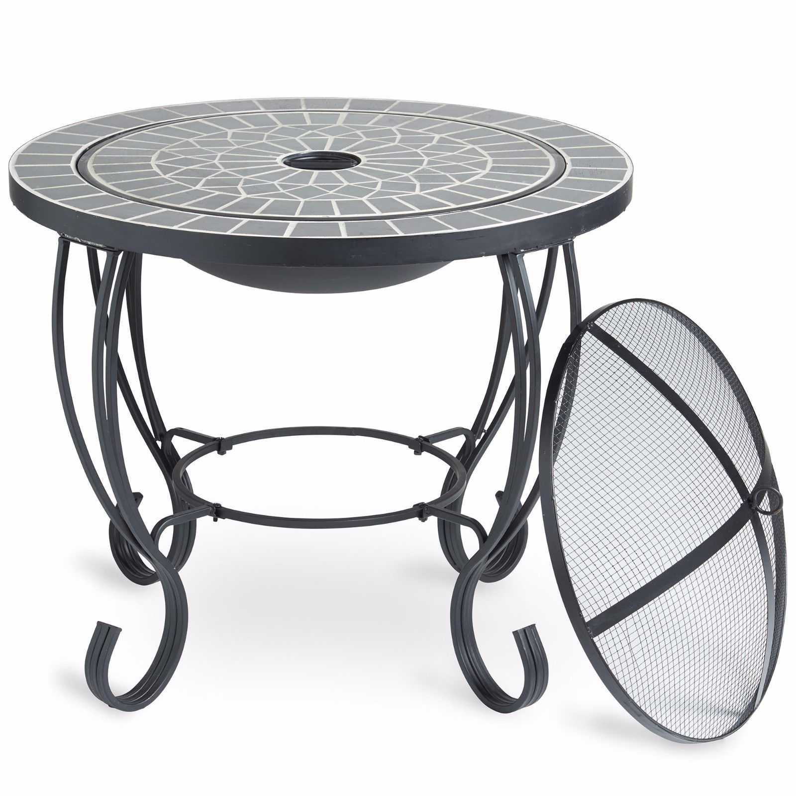 VonHaus Mosaic Fire Pit Coffee Table Garden Brazier BBQ ...