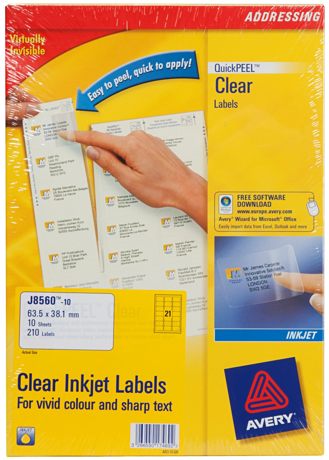Avery a4 label sheets pack of 210 clear inkjet labels for Avery cable label sheets