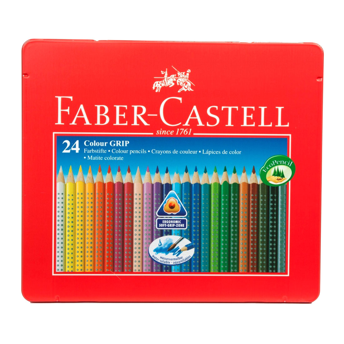 faber castell assorted colour grip colouring pencils water soluble pack of 24 ebay. Black Bedroom Furniture Sets. Home Design Ideas