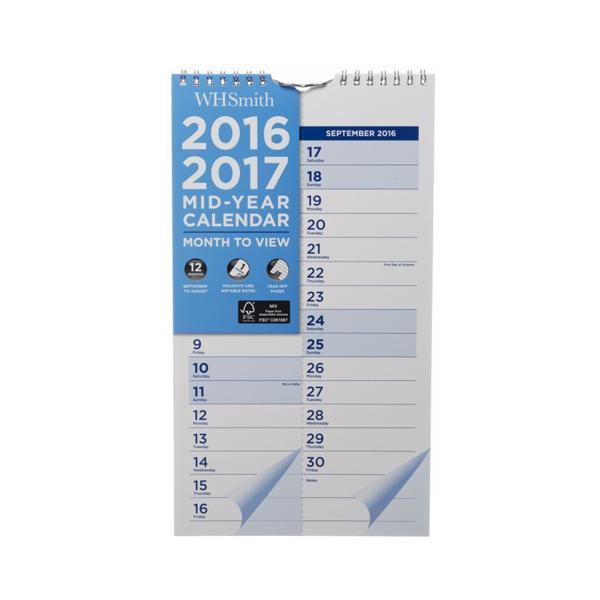 Mid Year Calendar : Whsmith slim academic mid year calendar month to