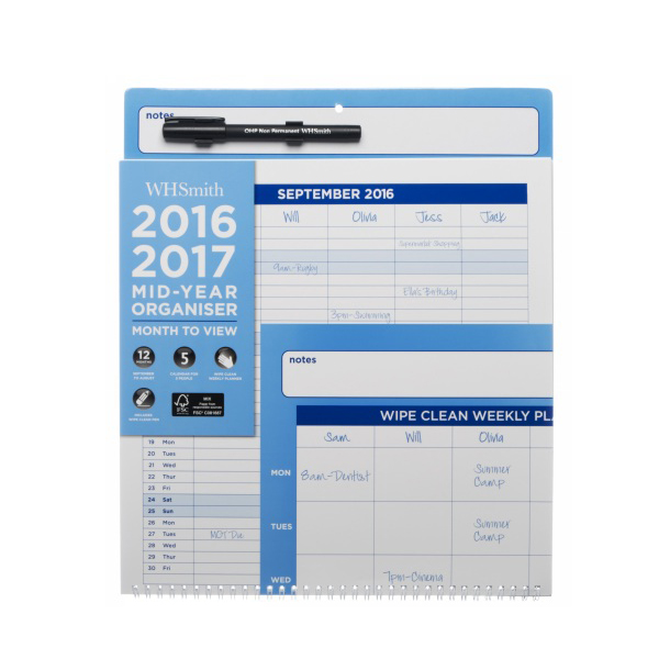Mid Year Calendar : Whsmith large academic mid year calendar month