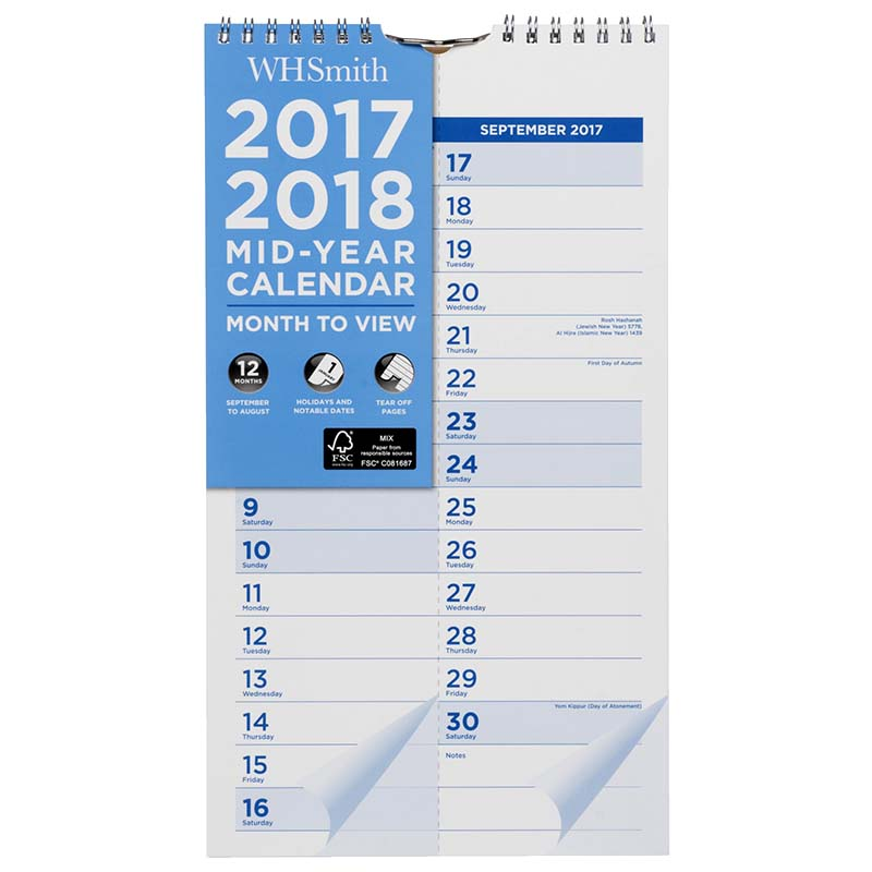Mid Year Calendar : Whsmith mid year slim wiro calendar month to view