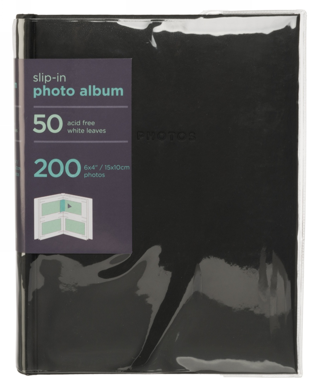 whsmith 6x4 photo album black 50 white slip in acid free. Black Bedroom Furniture Sets. Home Design Ideas