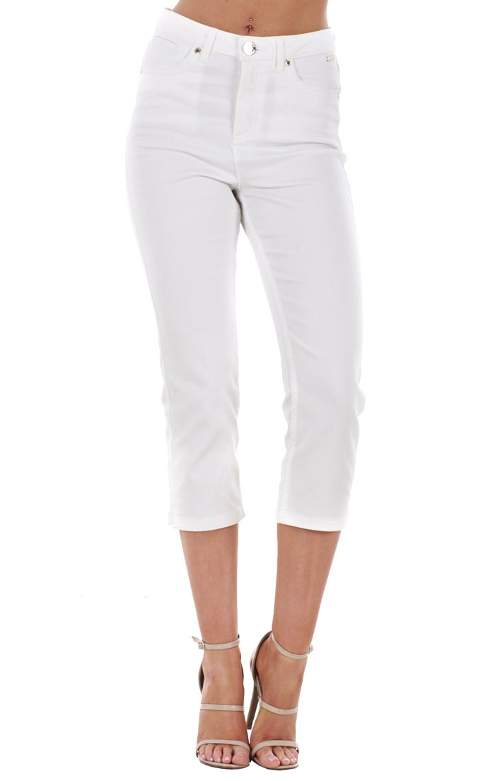 ladies white cropped jeans - Jean Yu Beauty