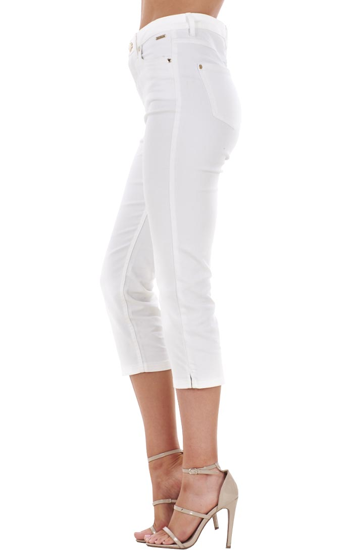Ladies White Cropped Jeans - Legends Jeans