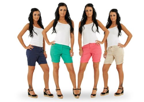 Ladies Turn Up Shorts Summer Navy Beige Womens Hot Pants Green Pink