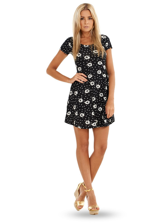 ladies summer floral dress womens black white mini short