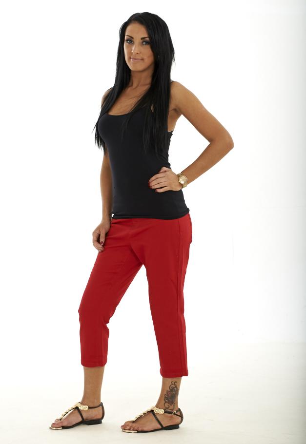 Ladies Cropped Trousers Plain Cotton Womens 3/4 Capri Pants Three ...