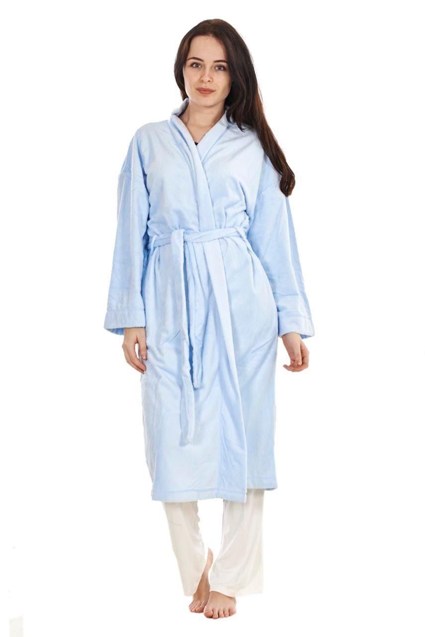 Ladies Dressing Gown Brown Bath Robe Fleece Lilac Plain Blue Womens ...