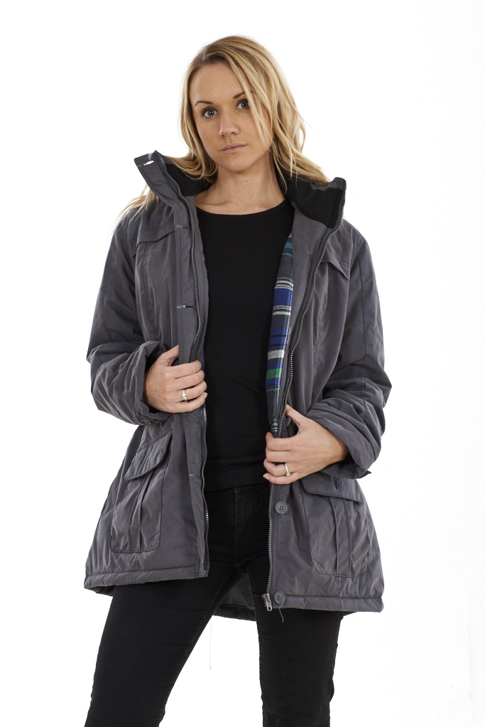 Ladies Grey Parka Coat | Down Coat