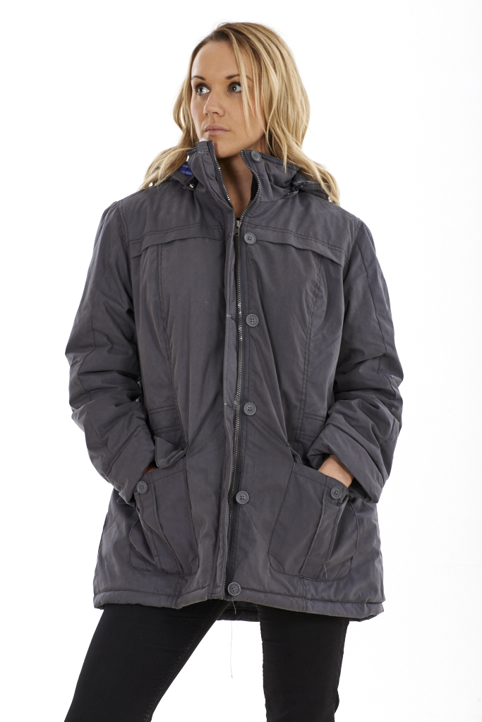 Ladies Lined Winter Coat Womens Outerwear Grey Zip Parka Hooded ...