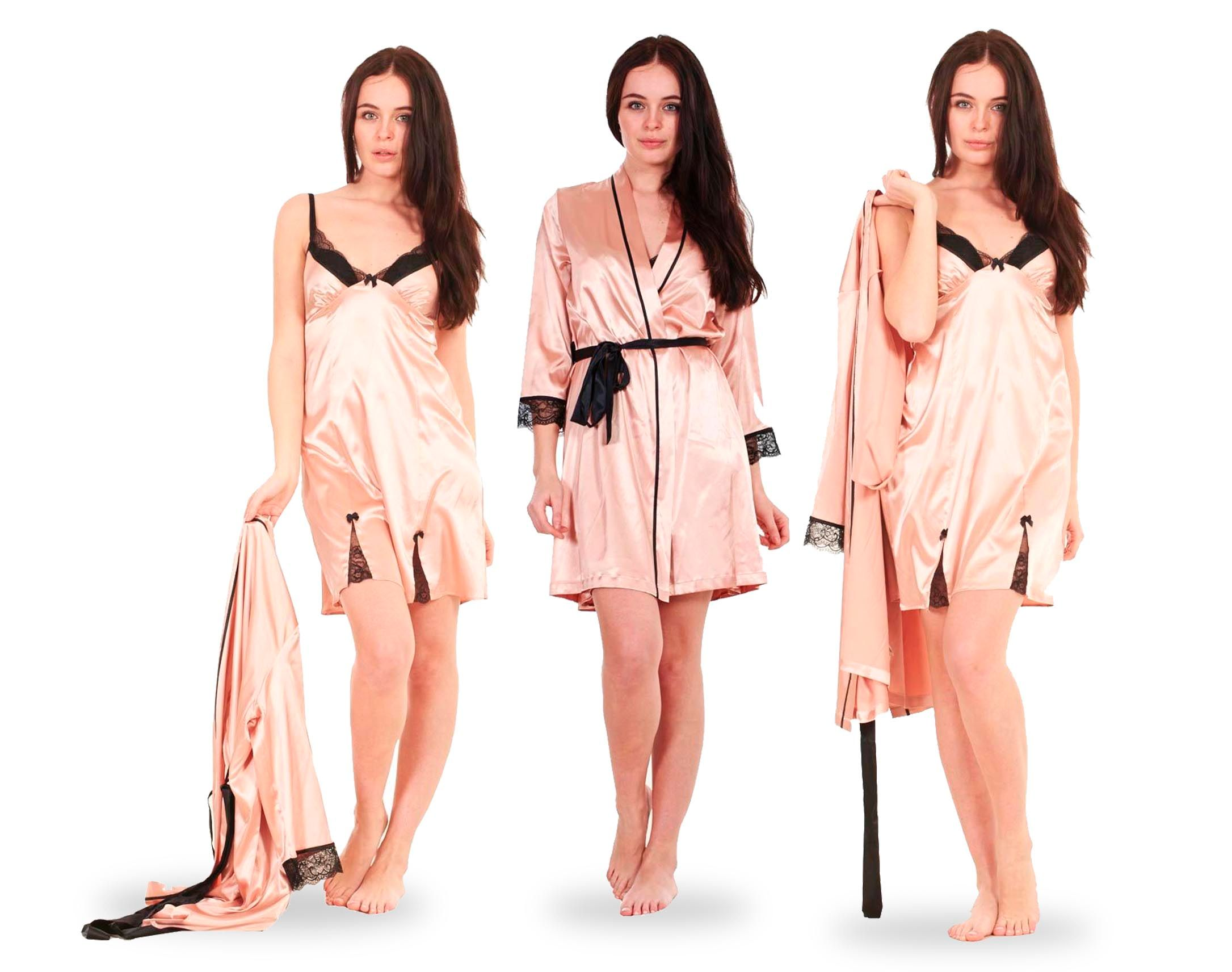 Ladies Gold 2 Piece Robe & Chemise Set Womens Sexy Satin