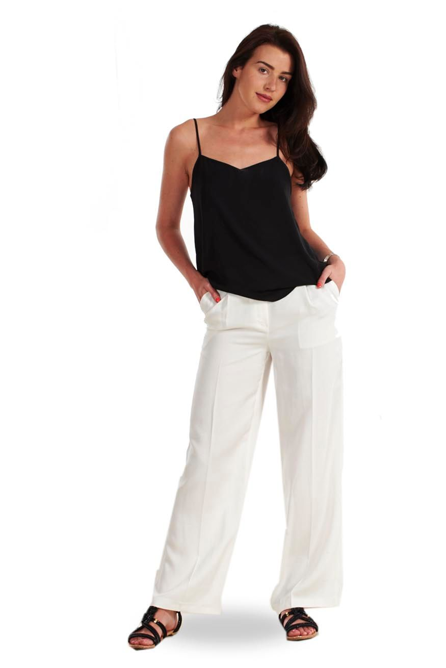 Ladies White Linen Trousers Womens Summer Ivory Holiday