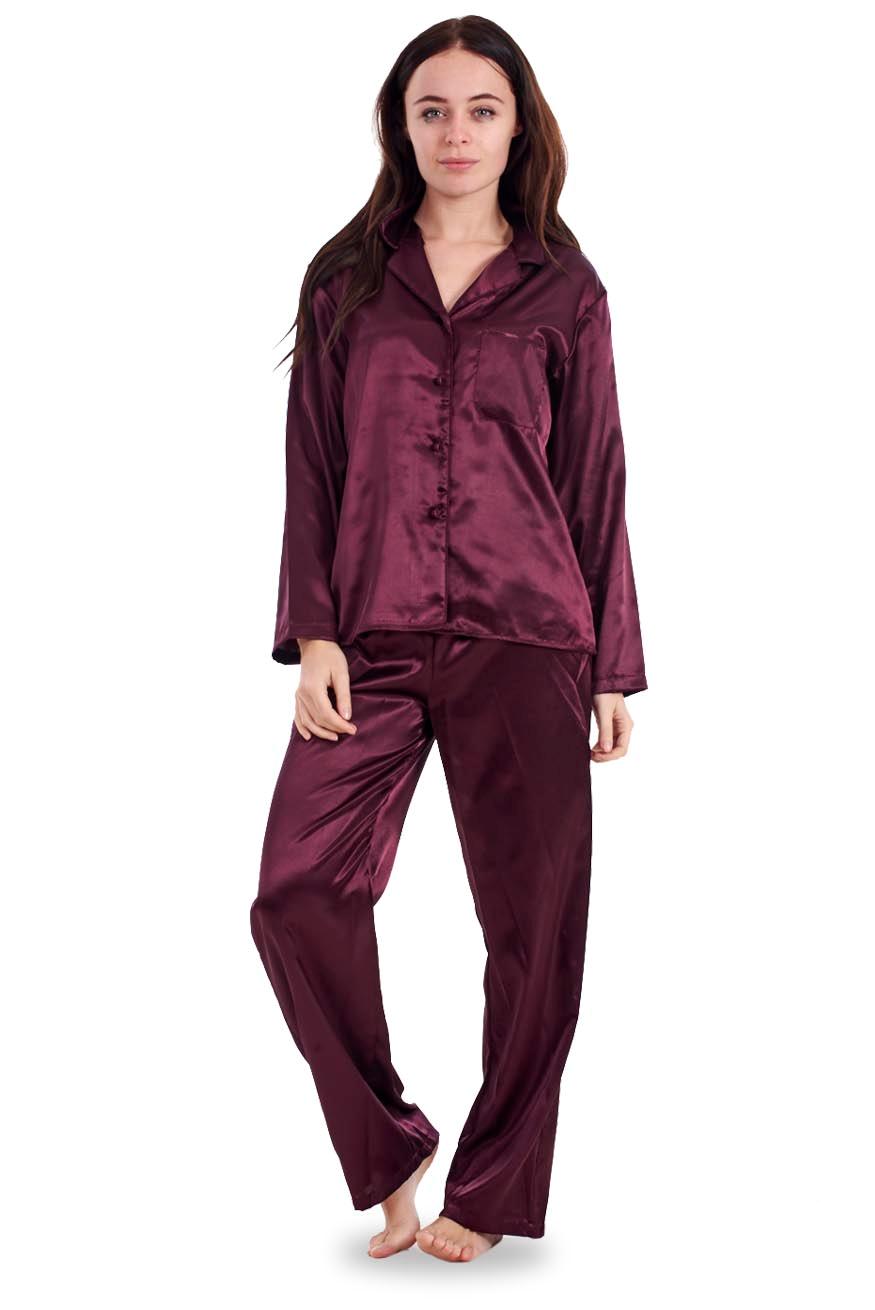 2298d4c928 Ladies Satin Pyjama Set PJ s Cerise Full Length Womens Blue Cream ...