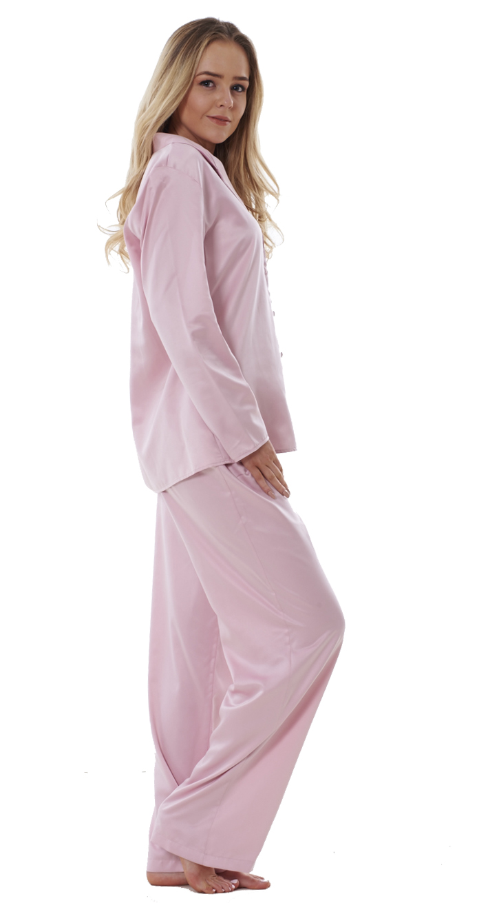 5d5d9a3de7 Ladies Satin Pyjama Set PJ s Cerise Full Length Womens Blue Cream ...
