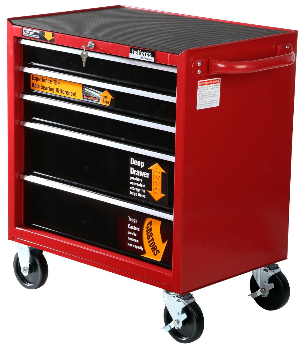 halfords professional 5 drawer ball bearing tool cabinet box chest storage red ebay. Black Bedroom Furniture Sets. Home Design Ideas