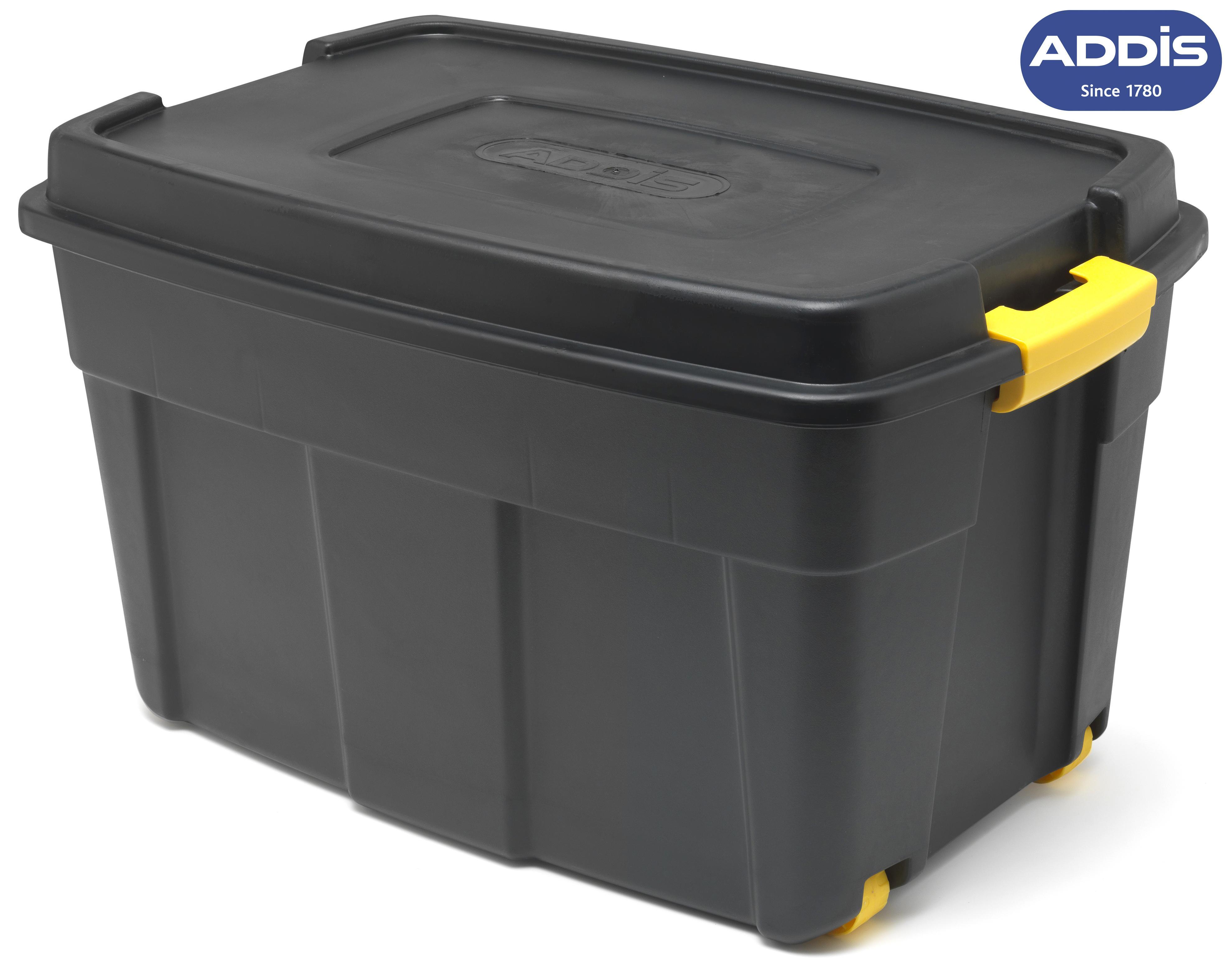 addis heavy duty mobile storage tote 110l black plastic lock lid handles wheels ebay. Black Bedroom Furniture Sets. Home Design Ideas