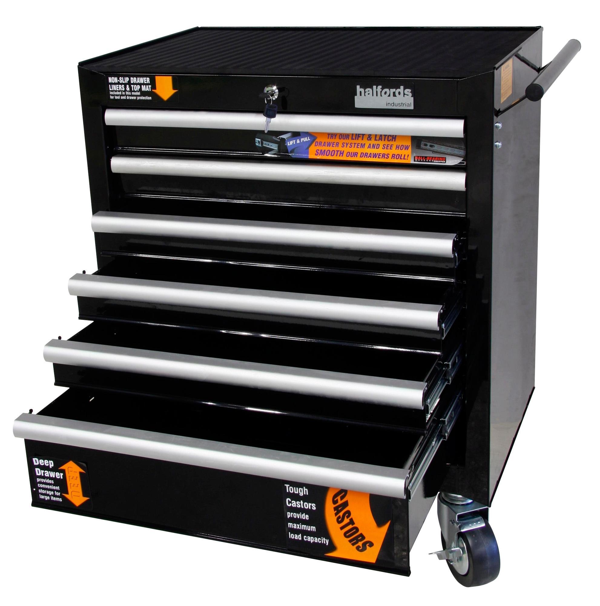 halfords industrial 6 drawer ball bearing tool cabinet. Black Bedroom Furniture Sets. Home Design Ideas