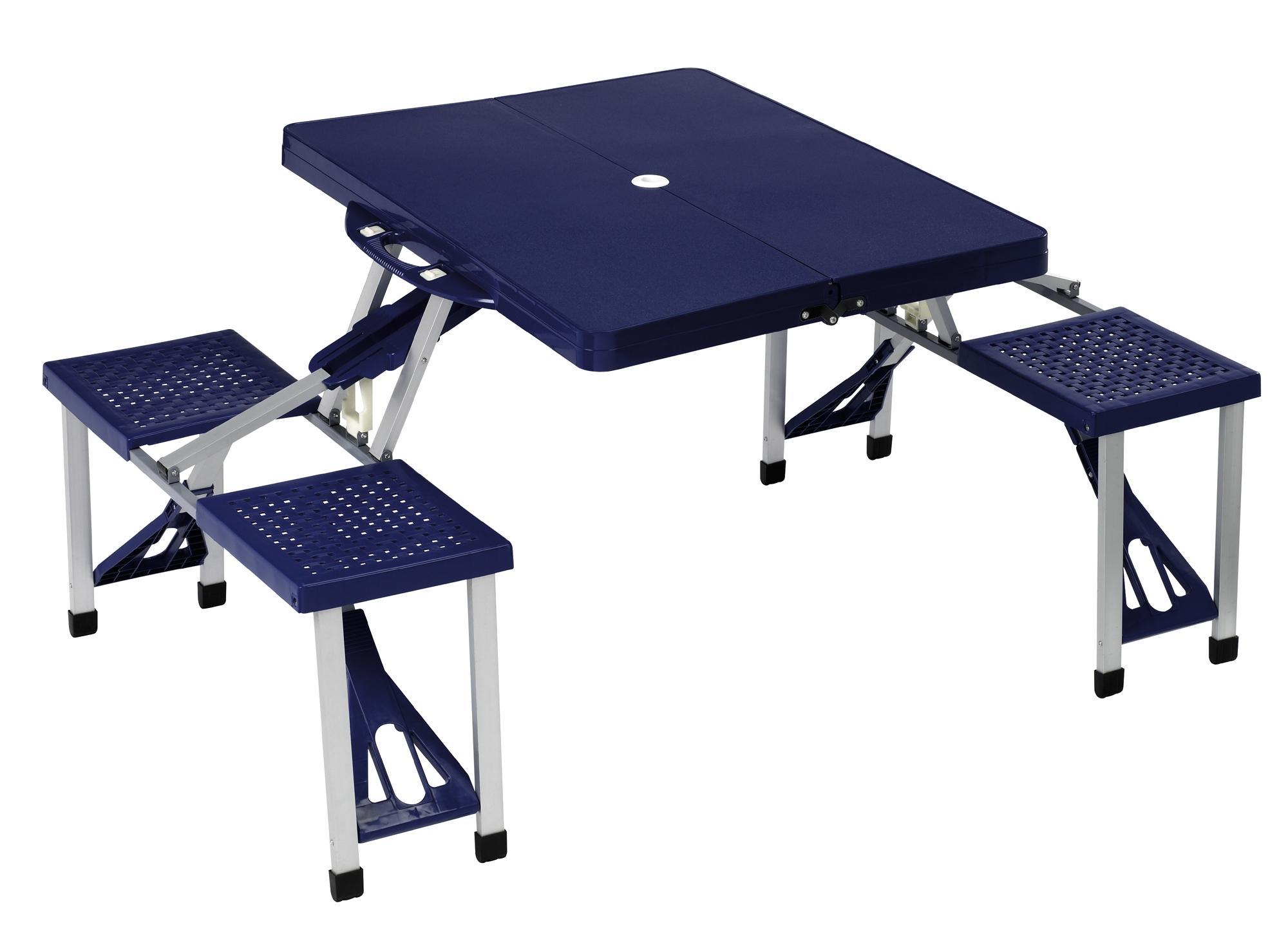 halfords folding picnic table blue aluminium 4 plastic seats outdoor camping ebay. Black Bedroom Furniture Sets. Home Design Ideas