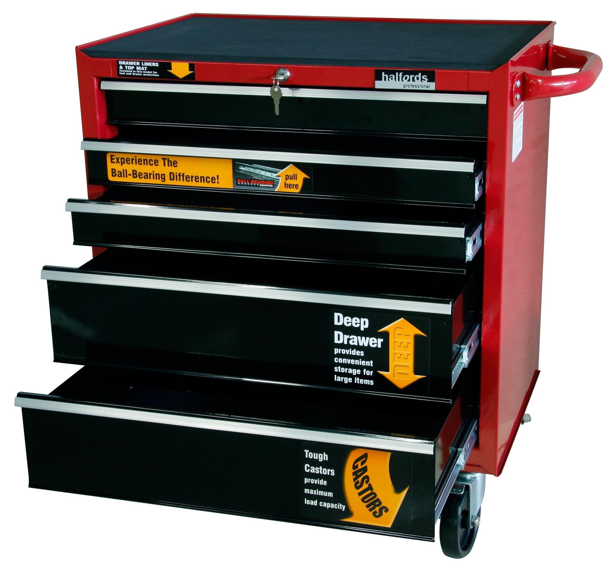 halfords professional 5 drawer ball bearing tool cabinet. Black Bedroom Furniture Sets. Home Design Ideas