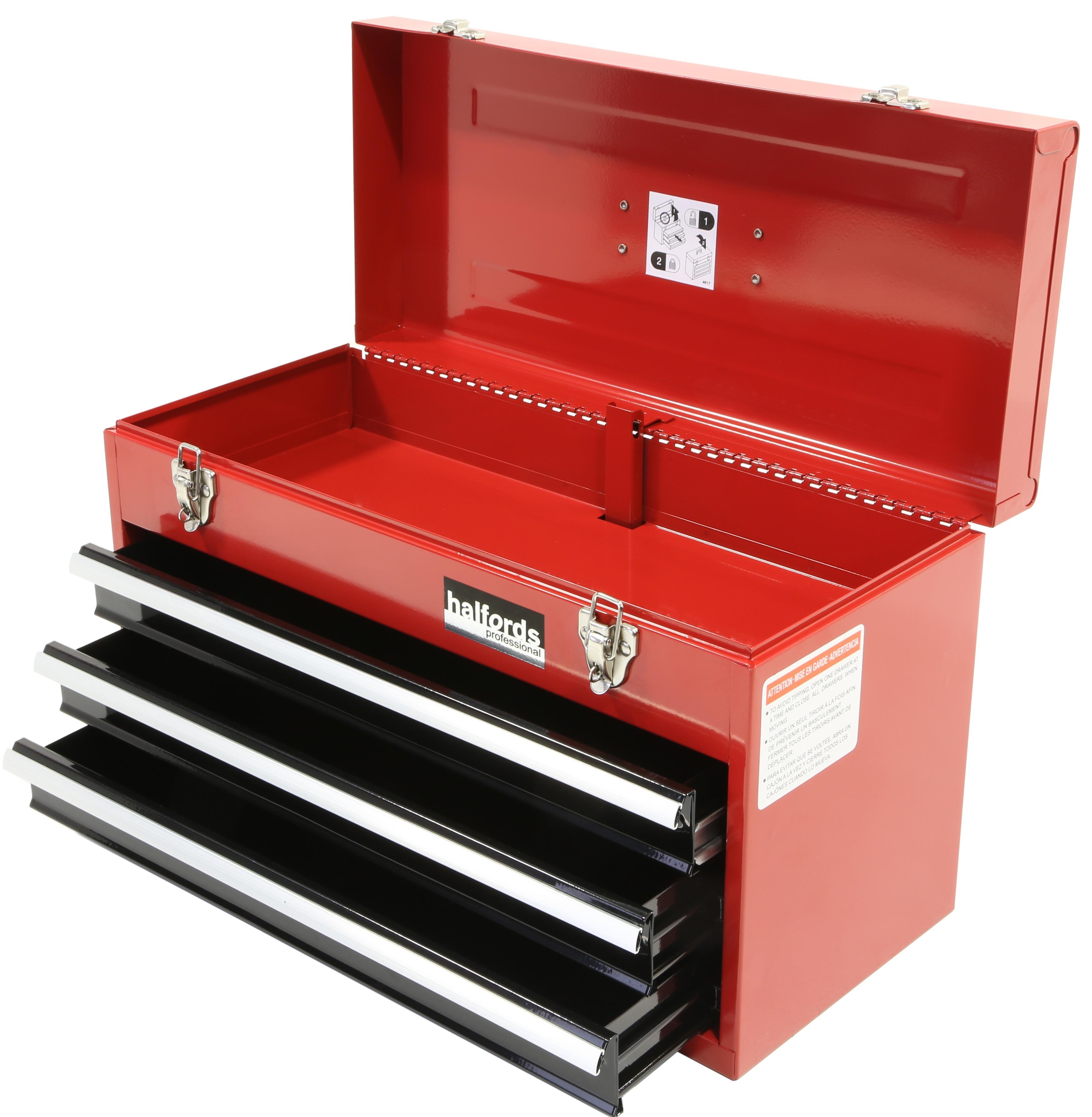 halfords professional tool chest red 3 drawer metal. Black Bedroom Furniture Sets. Home Design Ideas