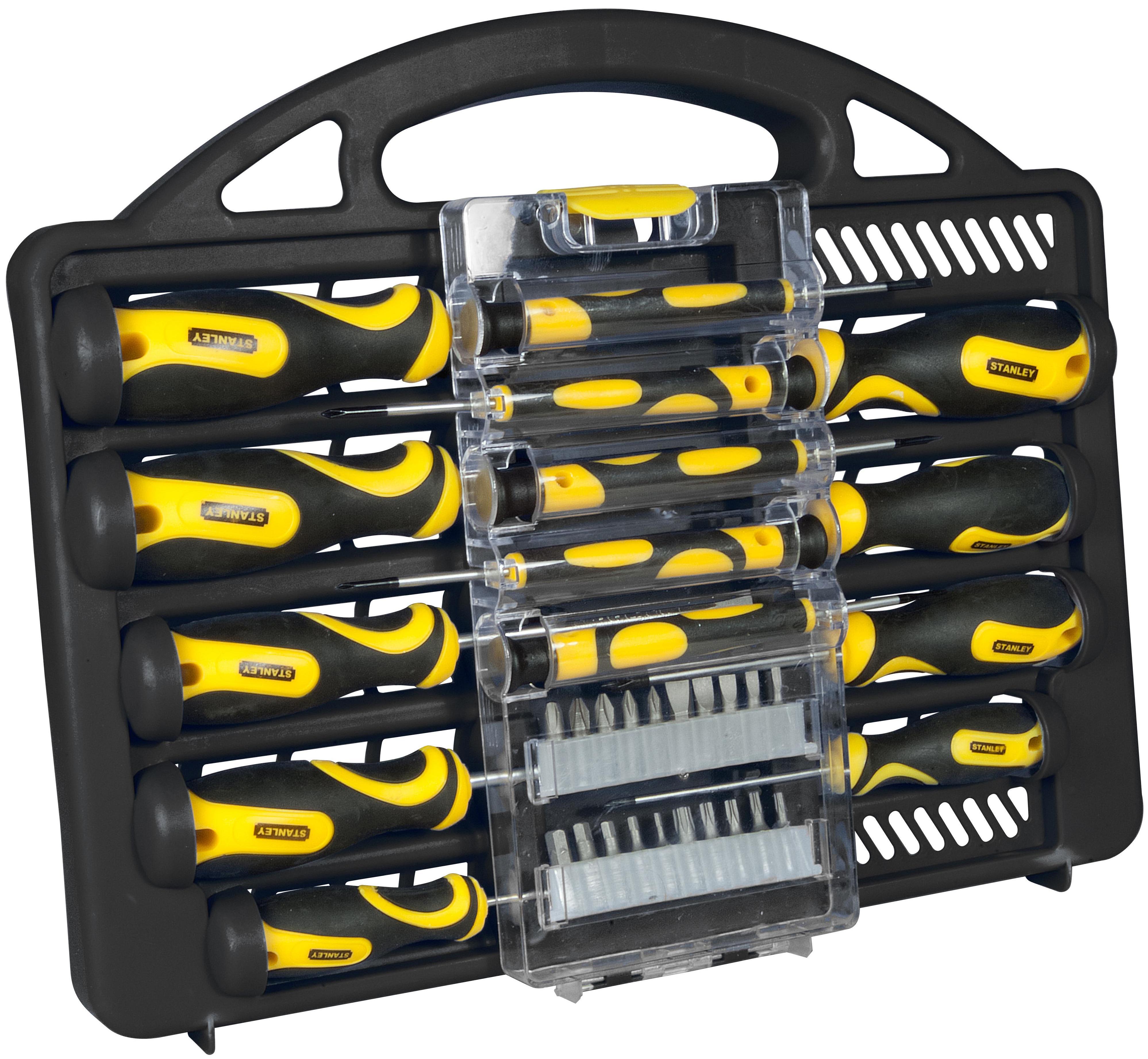 stanley screwdriver set 34 piece magnetic slotted phillips hex torx pozidrive. Black Bedroom Furniture Sets. Home Design Ideas