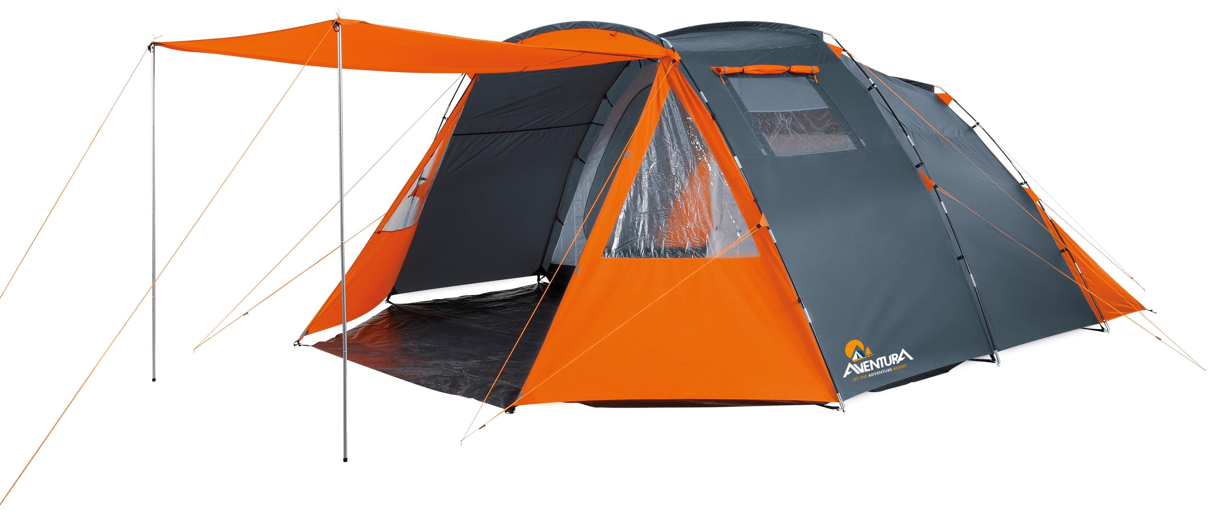 Aventura 6 Person Family Tent Grey Orange Tunnel Double