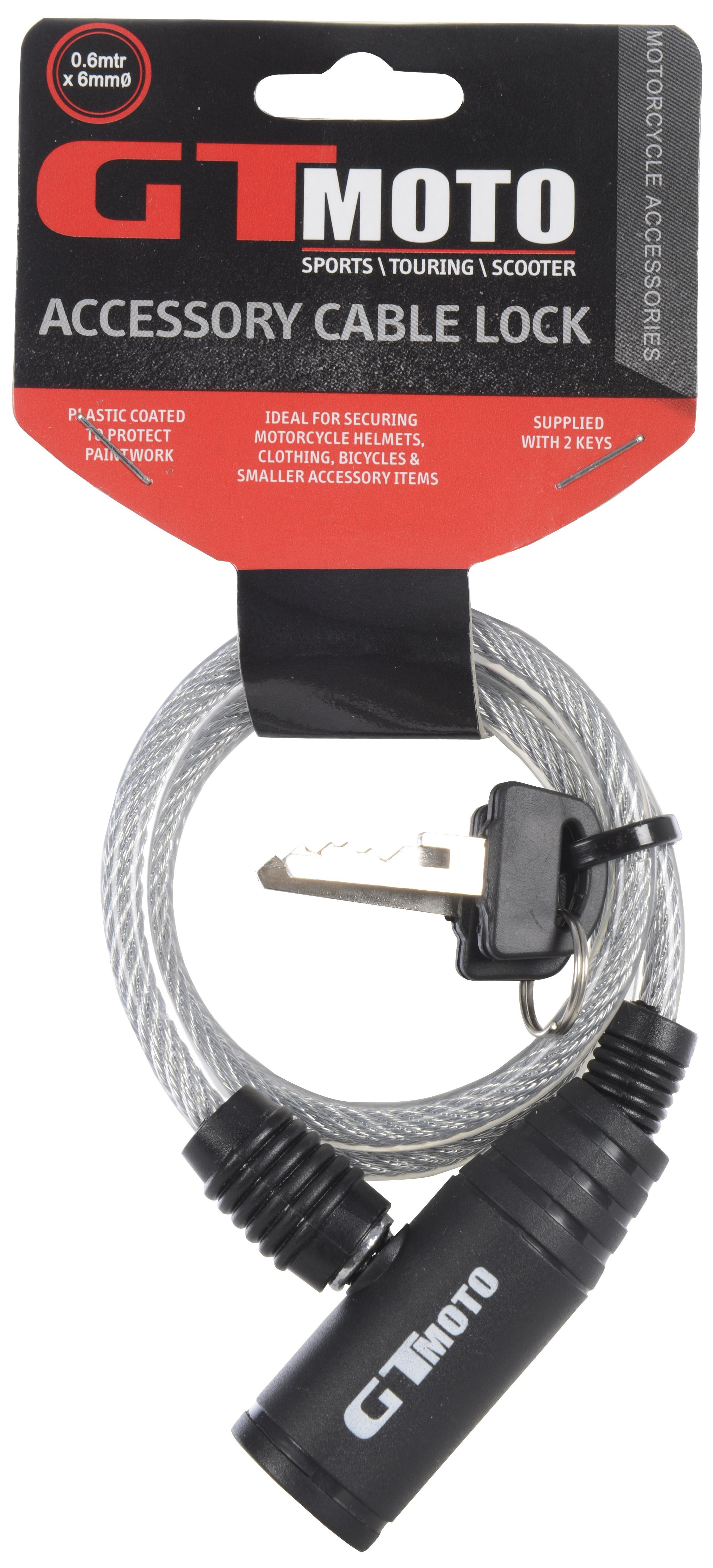Gtmoto Motorcycle Helmet Cable Lock 60cm Key 6mm Thick