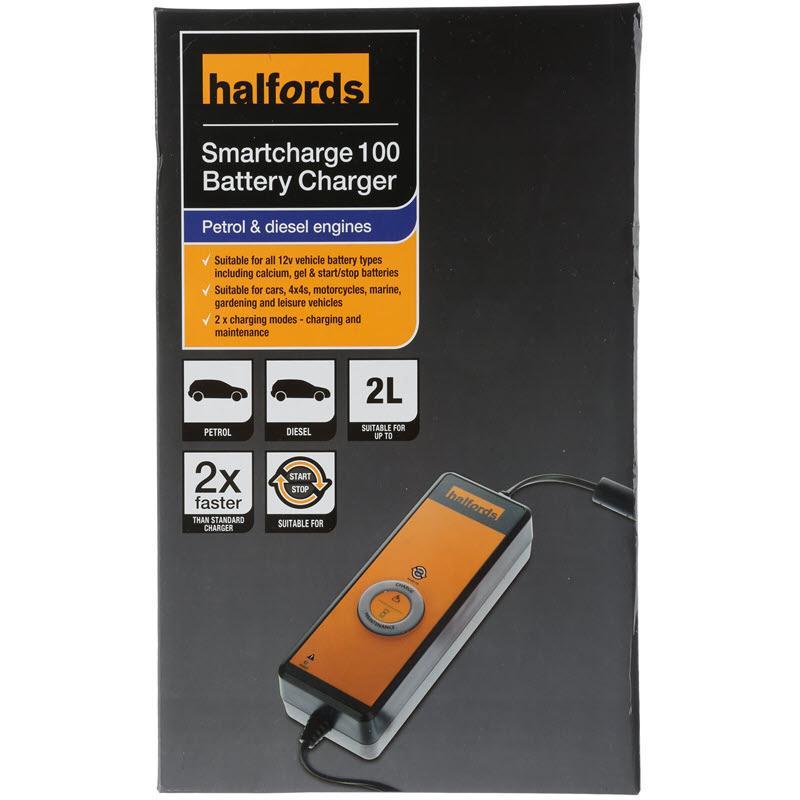 Halfords Smart Battery Charger 100 4 Amp Petrol Diesel 2l