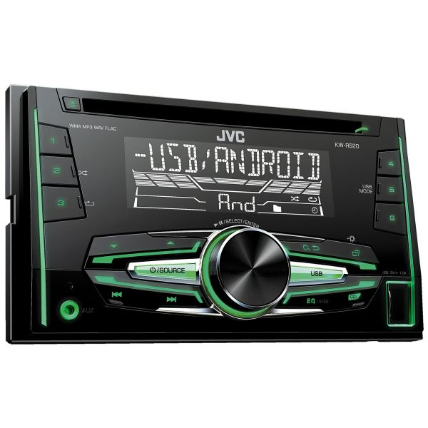 jvc kw r520 double 2 din fm am radio cd aux usb mp3 flac. Black Bedroom Furniture Sets. Home Design Ideas