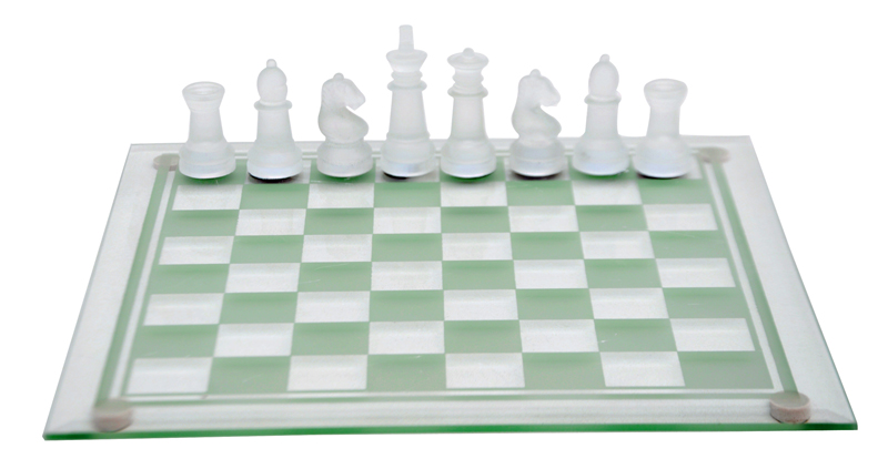 Glass Chess Set Elegant Frosted And Clear Glass Ebay
